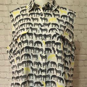 Talbots zebra sleeveless shirt